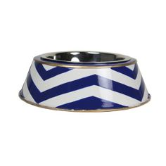 Navy Chevron Dog Bowl - my future fur child will eat and drink in style.
