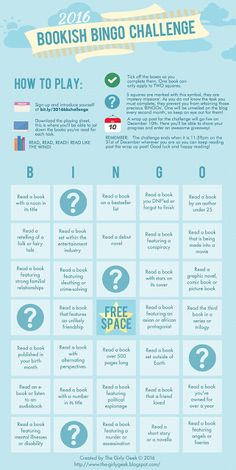 The Girly Geek Blog: The 2016 Bookish Bingo Challenge! The perfect reading challenge for anyone wishing to broaden their horizons! For more info go to: http://bit.ly/2016bbchallenge
