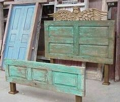 This is awesome for our newly made over shabby chic bedroom. Pretty sure my dad has some old wooden doors I could use for this too :)Savvy and Inspiring shabby chic headboard ideas on this favorite site Repurposed Furniture, Rustic Furniture, Painted Furniture, Diy Furniture, Repurposed Doors, Furniture Design, Furniture Movers, Office Furniture, Bedroom Furniture