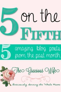 From TheGraciousWife.com |  5 ON THE FIFTH: Find bloggers' top 5 picks of articles and ideas on the web this past month!