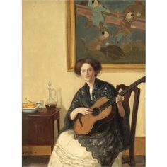 wells, denys george the artist's wife ethel playing the guitar ||| v||| victorian, pre-raphaelite & british impressionist art ||| sotheby's l07131lot3k83wen