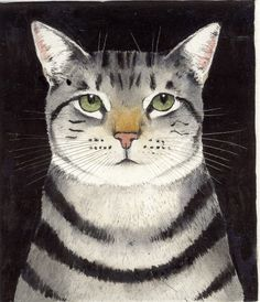 Tabby cat painting by Kay McDonagh I Love Cats, Crazy Cats, Cool Cats, Frida Art, Art Carte, Gatos Cats, Photo Chat, Here Kitty Kitty, Cat Drawing