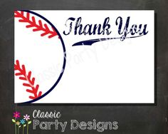 SALE   Baseball Baby Shower Thank You Card  by ClassicPartyDesigns, $5.00