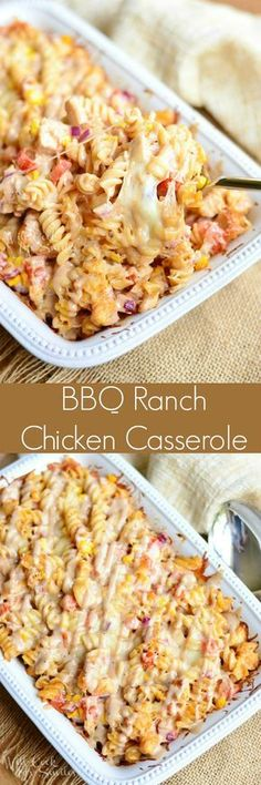 BBQ Ranch Chicken Casserole. Easy pasta casserole loaded with chicken, tomatoes, corn, red onion, and lots of cheese! This chicken, cheesy goodness is baked with BBQ ranch sauce for a full flavor experience.
