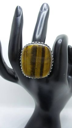 Tiger Eye Sterling Silver ring, size 9. by FierStaarGems on Etsy