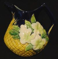 George Jones Majolica Pitcher with Basketweave, Leaves and Flowers, ca 1875