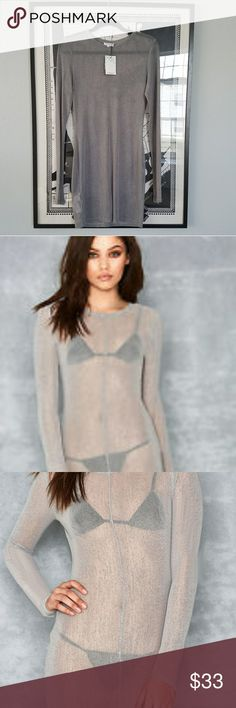 TAGS ON! Mistress Rocks Brand Sheer Dress Very sexy BRAND NEW/TAGS ON  Mistress sheer silver grey dress/Bathing Suit cover up. Very cute over bathing suit or camisole underdress. Sheer mesh style very on trend for layering. Mistress Ricks Dresses Midi