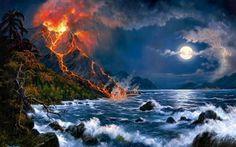 Scarica sfondi jesse barnes, artista americano, eruzione of volcano