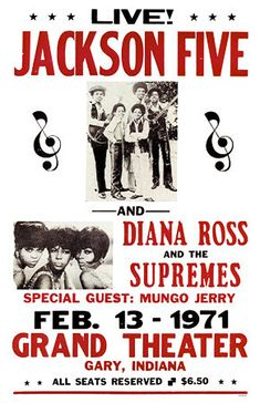 Classic Motown Concert Poster: The Jackson Five, Diana Ross & The Supremes, and Mungo Jerry--wow...just look at the price for a concert ticket!