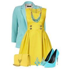 С чем носить бирюзовые туфли: желтое платье, желтая сумка, голубой пиджак, бирюзовая бижутерия