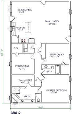 Barndominium Plans on one story 40x50 floor plan