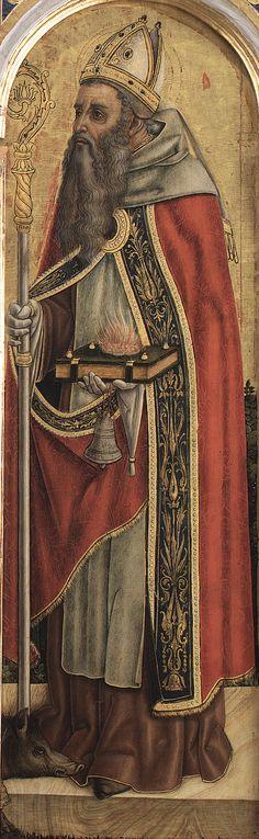 Vittore Crivelli - Sant'Antonio Abate, dettaglio Trittico di Monte San Martino - 1490 - Chiesa di San Martino vescovo, Monte San Martino, in provincia di Macerata.