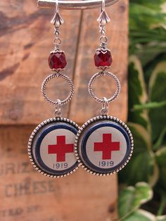 Upcycled Jewelry - Authentic American Red Cross 1919 Pinbacks Converted into Stylish Dangle Earrings