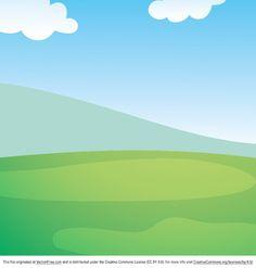 Spring landscape cartoon background Free Vector