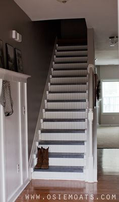 we will use this idea to trim out around steps to hide gaps (Osie Moats DIY,Lifestyle,Decorating blog.: DIY $50 STAIR MAKEOVER | REVEAL)