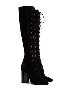 Dr Shoes, Cute Shoes, Me Too Shoes, Kpop Fashion Outfits, Fashion Models, Fashion Shoes, Fashion Black, High Heel Boots, Heeled Boots