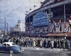 Wrigley Field October 1945 the last time (before this year!) the Cubs were in the World Series. Baseball Posters, Baseball Park, Chicago Cubs Baseball, Baseball League, Baseball Photos, Hockey, Basketball, Baseball Painting, Cubs Games