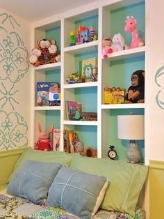 Delany's Colorful Creative Space Delany's Colorful Creative Space My Room Toy Shelves, Built In Shelves, Wall Shelving, Home Bedroom, Girls Bedroom, Toy Rooms, Kids Rooms, Kid Spaces, Kids Decor