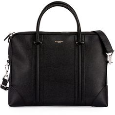 Givenchy L.C. Small Leather Briefcase ($2,290) ❤ liked on Polyvore featuring bags, briefcases and black