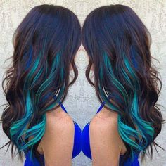 Brown hair with blue and turquoise streaks ombre hair hair c Hair Color Streaks, Hair Color Blue, Blonde Streaks, Purple Streaks, Under Hair Color, Dye My Hair, New Hair, Hair 24, Dyed Hair