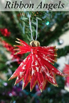 Use wired ribbon to make this lovely angel ornament!