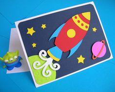 Rocket Ship Space Theme Birthday Invitation (set of 8). $26.00, via Etsy.