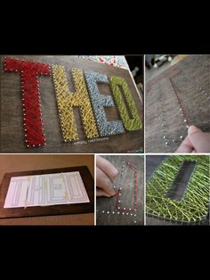 Name plaque using nails and coloured wool