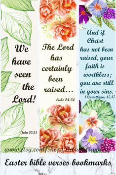 Easter Bible verses Bookmarks (Set of perfect for for preschoolers. Interesting addition to bibl Verses For Cards, Scripture Cards, Scripture Study, Prayer Cards, Bible Art, Bible Bookmark, Bookmarks, Easter Bible Verses, Study Cards