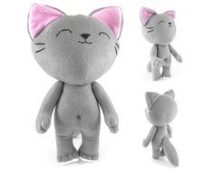 Cute stuffed Kitten toy handmade gray Kitten plush soft cat