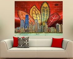 Chi Feather Skyline X Generic Blackhawks Hockey, Chicago Blackhawks, Chicago Bears, Chicago Wolves, Hockey Baby, My Kind Of Town, Chicago White Sox, My Living Room, Wall Decor