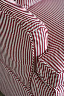 Custom Slipcovers by Shelley: Red/ white striped chair Reupholster Furniture, Furniture Repair, Upholstered Furniture, Furniture Makeover, Diy Furniture, Modern Furniture, Furniture Design, Custom Slipcovers, Striped Chair