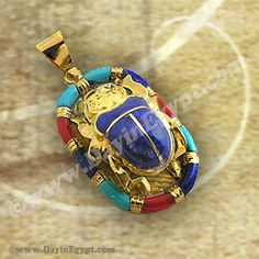 Egyptian 18k gold pendant scarab with blue stone a unique scarab egyptian 18k gold pendant scarab with blue stone colored enamel dayinegypts most unique gold scarab pendant with blue stone and attractive colored aloadofball Choice Image