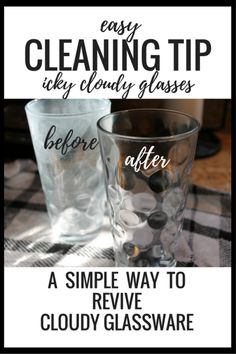 A simple tip to clean cloudy looking glasses. How to clean cloudy glassware. Gotta try this with my glasses! Remove Water Spots, Hard Water Spots, Hard Water Stains, Household Cleaning Tips, House Cleaning Tips, Cleaning Hacks, Daily Cleaning, Household Products, Kitchen Cleaning