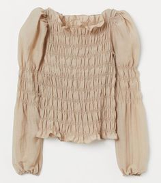 Smocked Blouse - Beige from H&M on 21 Buttons High Street Fashion, Fashion Weeks, Traje Casual, Brave, Brown Outfit, Zara, Beige Top, Slip Skirts, Fashion Company