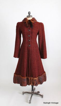 Vintage 1930s Wool Princess Coat with Mink Trim via Etsy.