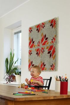 SEINARUUSU rug, design Elina Aalto with inspiration from traditional patterns. Rya Rug, Digital Art Fantasy, Latch Hook Rugs, Scandinavian Home, Vintage Colors, Crafts For Teens, Woven Rug, Rug Making, Diy Art