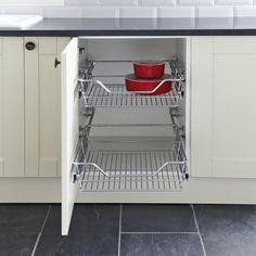 Pull Out Storage Basket Set, Chrome Linear Wire Baskets, for Cabinet Widths 300-900 mm - Häfele U.K. Shop