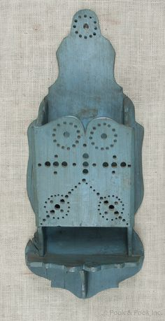 "Walnut hanging wall box, 19th c., with a later blue/green painted surface, 28"" h., 11 1/2"" w. 207."