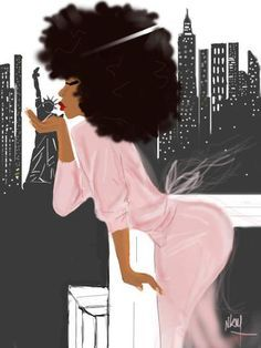 Love the pink and afro. So girly! Black Girl Art, Black Women Art, Black Girls Rock, Black Girl Magic, Art Girl, African American Art, African Art, Natural Hair Art, Natural Hair Styles