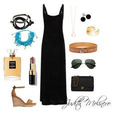 """Maxi black dress with brown"" by judith-molinero-fashion on Polyvore featuring Lauren Ralph Lauren, H&M, Chanel, mizuki, NOVICA, Bobbi Brown Cosmetics, BillyTheTree, Bridge Jewelry and Dutch Basics"