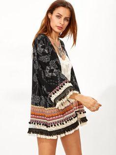 Black Retro Print Fringe Trim Kimono