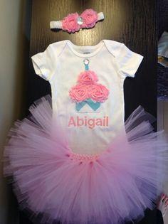 GIRLS Pink and Aqua Chevron Shabby Rose by LittleGraceBowtique, $54.00