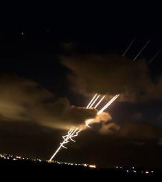 Hamas rockets being fired towards Israel
