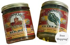 Two jars of Sweet Hots New Mexico salsa; One green and one red!