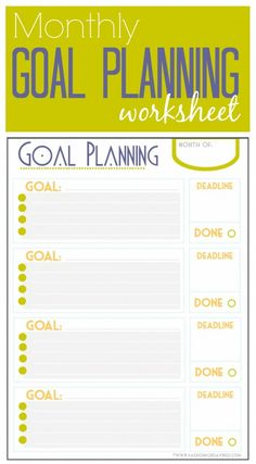 Free Monthly Goal Planning Worksheet