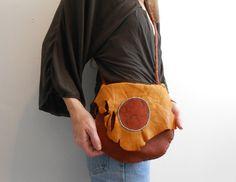 Handmade Elk Hide Bag with Wolf Paw Flap by FaeMoonWolfDesigns