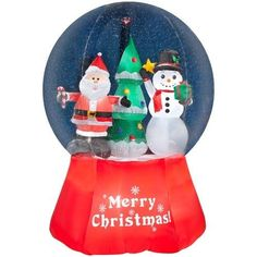 Christmas Snow Globe Inflatable Decorations Snow Globe-Santa With Snowman New #Gemmy