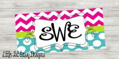 License Plate Personalized Car License Plate Custom Chevron Polka Dots Monogrammed on Etsy, $28.00