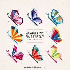 Geometric profile butterflies Vector | Free Download Zentangle, Polygon Art, Desenho Tattoo, Arte Pop, Decoration Design, Kids Prints, Design Crafts, Quilting Designs, Geometric Shapes