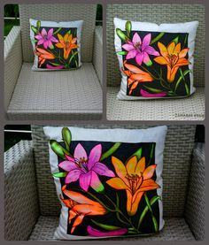 Handmade painted pillow- 100% natural silk  20eur